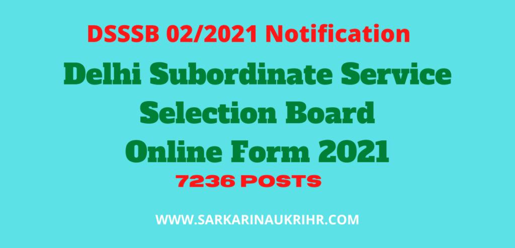 DSSSB 02/2021 Various Post Online Form 2021